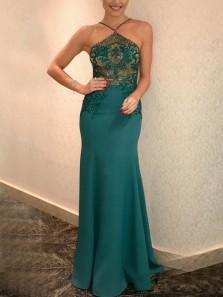 Charming Mermaid Halter Open Back Green Satin Long Prom Dresses,Elegant Evening Party Dresses