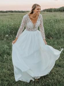 Vintage A-Line V Neck Open Back Long Sleeve White Lace Wedding Dresses