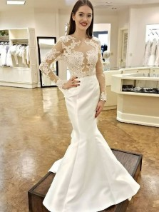 Unique Mermaid Round Neck Long Sleeve Backless White Satin Wedding Dresses with Lace