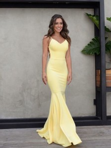 Simple Sheath V Neck Backless Yellow Elastic Satin Long Prom Dresses,Evening Party Dresses