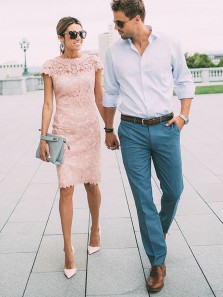Sheath Round Neck Blush Pink Lace Knee Length Party Dresses,Cap Sleeve Wedding Guest Dresses,Short Homecoming Dresses