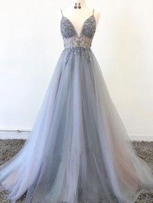 Princess A-Line V Neck Spaghetti Straps Open Back Grey Tulle Long Prom Dresses with Beading,Formal Evening Party Dresses