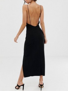 Simple Sheath Square Neck Spaghetti Straps Backless Black Silk Ankle Length Prom Party Dresses Cheap Under 100