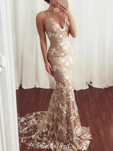 Elegant Mermaid V Neck Spaghetti Straps Backless Champagne Lace Long Prom Dresses with Train,Formal Party Dresses