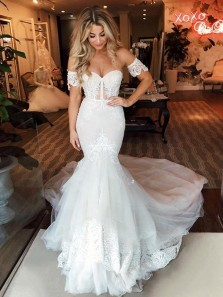 Mermaid Sweetheart Tulle Lace Wedding Dresses with Sleeves