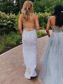 Sparkly Mermaid Scoop Neck Cross Back White Sequins Long Prom Evening Dresses,Shiny Formal Party Dresses
