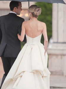 Simple A-Line Sweetheart Open Back White Satin Wedding Dresses
