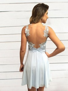 Chic A-Line Sweetheart Light Blue Chiffon Short Prom Dresses with Lace,Cute Homecoming Dresses
