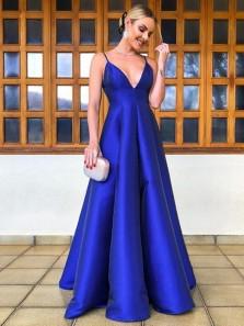 Elegant A-Line V Neck Backless Royal Blue Satin Long Prom Dresses,Evening Party Dresses