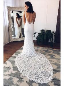 Cheap V Neck Mermaid White Lace Long Wedding Dress Court Train