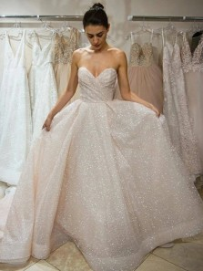Gorgeous Ball Gown Sweetheart Open Back Ivory Sequins Long Wedding Dresses,Sparkly Prom Dresses with Pockets