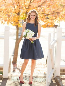 Elegant A-Line Round Neck Navy Blue Short Bridesmaid Dresses Under 100