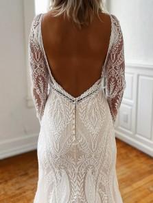 Elegant Mermaid V Neck Backless Long Sleeve White Lace Wedding Dresses with Side Slit
