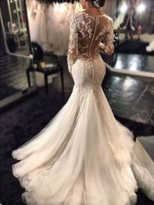 Trumpet Mermaid V neck Long Sleeves Lace Court Train Tulle Wedding Dress