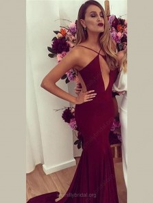 Unique Trumpet/Mermaid V-neck Jersey with Ruffles Court Train Backless Hot Prom Dresses, Burgundy Prom Dress