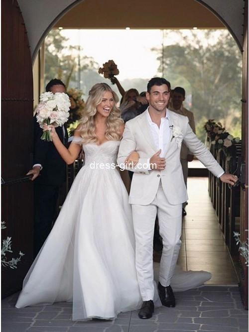 Charming A-Line Off-the-Shoulder Tulle Long White Wedding Dresses with Side Split
