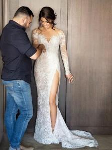 Elegant Mermaid Round Neck Long Sleeve White Lace Wedding Dresses with High Split