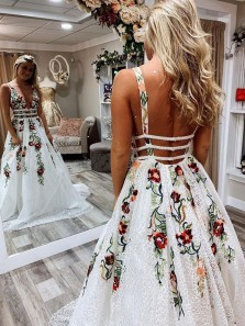 Modest A-Line V Neck Open Back White Lace Long Prom Dresses with Embroidery,Charming Pageant Dresses
