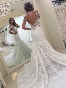 Cheap Elegant Mermaid V Neck Straps Open Back White Lace Court Train Wedding Dress with Applique