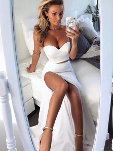 Unique Two Piece Mermaid Sweetheart Open Back White Elastic Satin Long Prom Dresses with Slit,Formal Evening Party Dresses with Train