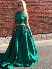 Two Piece Halter Green Satin Long Prom Dresses with Pockets,Evening Party Dresses
