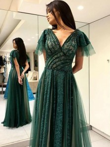 Charming A-Line V Neck Cap Sleeve Dark Green Tulle Lace Long Prom Dresses,Formal Evening Party Dresses 20201030