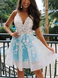 Stylish A-Line V Neck Open Back White Lace Short Homecoming Dresses,2020 Short Prom Dresses