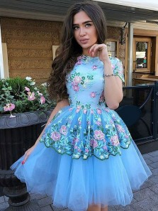Pretty A-Line Round Neck Short Sleeve Sky Blue Tulle Short Homecoming Dresses with Appliques,Short Cocktail Party Dresses