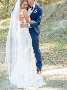 Gorgeous Mermaid V Neck White Lace Wedding Dresses