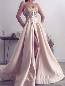 Unique A-Line Sweetheart Open Back Champagne Satin Long Prom Dresses with Appliques,Formal Party Dresses