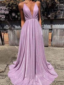 Gorgeous A-Line V Neck Cross Back Lavender Sequins Long Prom Dresses with Pockets,Evening Party Dresses