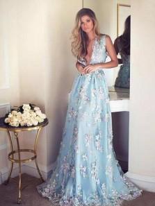 Romantic A-Line Deep V Neck Blue Flower Lace Long Prom Dresses,Pageant Dresses