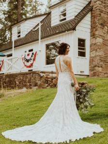 Boho A-Line Round Neck White Lace Wedding Dresses with Train