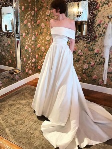 Charming A-Line Off the Shoulder Open Back White Satin Long Prom Dresses with Pockets,Formal Party Dresses,Wedding Dresses Simple