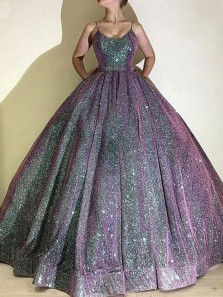 Ball Gown Scoop Neck Open Back Glitter Satin Long Prom Dresses,Formal Party Gown