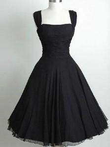 Vintage A-Line Square Neck Black Chiffon Short Homecoming Dresses,Little Black Dresses