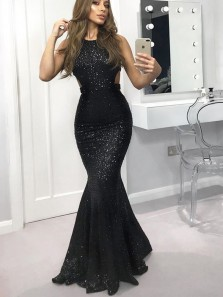 Charming Mermaid Backless Black Sequins Long Prom Dresses,Formal Party Dresses