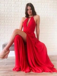 Modest A-Line Halter Open Back Red Chiffon Long Prom Evening Dresses with High Split