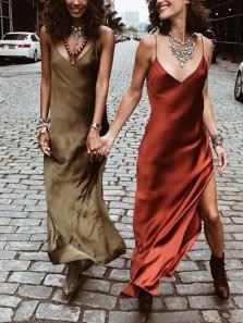 Simple Sheath V Neck Spaghetti Straps Silk Satin Long Evening Party Dresses with Side Split Under 100