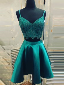 Two Piece A-Line V Neck Spaghetti Straps Green Satin Short Homecoming Dresses with Appliques,Back to School Dresses