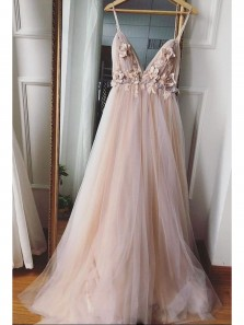 Stunning A-Line V Neck Open Back Blush Pink Tulle Long Prom Dresses with Appliques,Special Occasion Dresses
