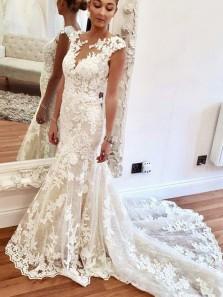 Elegant Mermaid Round Neck Ivory Lace Wedding Dresses with Train