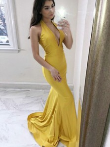 Sexy Mermaid Deep V Neck Halter Open Back Yellow Satin Long Prom Dresses with Train,Formal Party Dresses