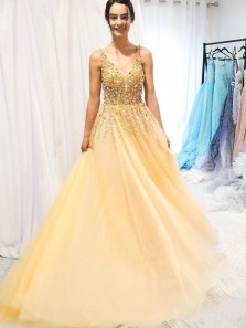 Fairy A-Line V Neck Open Back Yellow Tulle Long Prom Dresses with Beaded,Evening Party Dresses 191123003