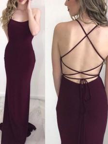 Simple Mermaid Scoop Neck Cross Back Dark Burgundy Elastic Satin Long Prom Dresses,Cheap Evening Party Dresses Under 100