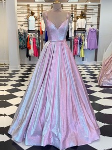 Gorgeous Ball Gown V Neck Open Back Double Straps Sparkly Satin Long Prom Dresses,Formal Evening Party Dresses,Quinceanera Dresses