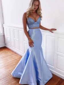Gorgeous 2 Piece V Neck Criss Cross Back Blue Satin Long Prom Dresses with Train,Mermaid Beaded Evening Party Dresses