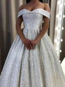 Sparkly Ball Gown Off the Shoulder Open Back Silver Sequins Prom Dresses,Glitter Formal Evening Party Dresses,Quinceanera Dresses Sweet 16 Party Dresses