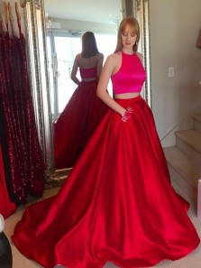 Charming A-Line Two Piece Halter Red Satin Backless Long Prom Dresses,Formal Party Dresses