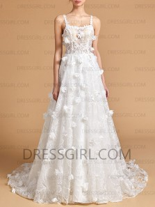 Princess A-Line Scoop Neck White Lace Wedding Dresses